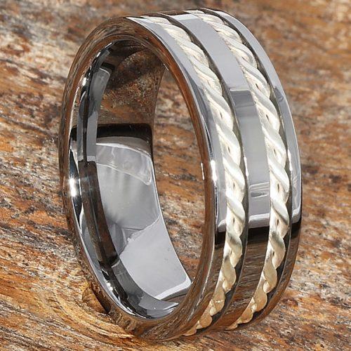 Braided Silver Infinity Rings