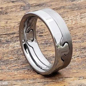 interlocking polished puzzle ring
