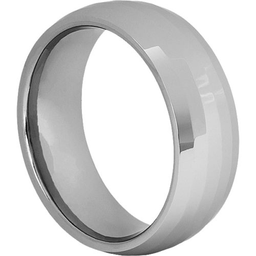 Janus Shiny Mens Parallel Faceted Tungsten Rings