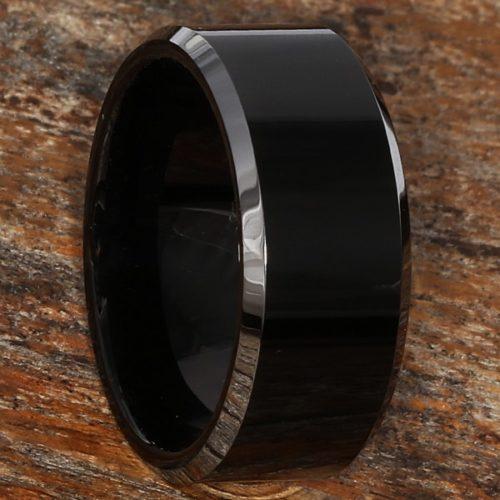 Kana Silver Edges Black Tungsten Rings