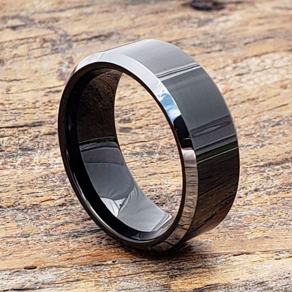 kana-silver-beveled-edges-black-tungsten-ring