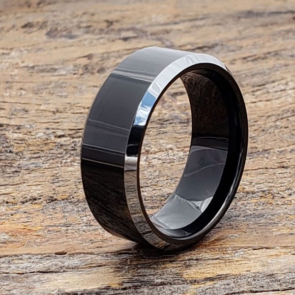 kana-silver-beveled-edges-black-tungsten-rings