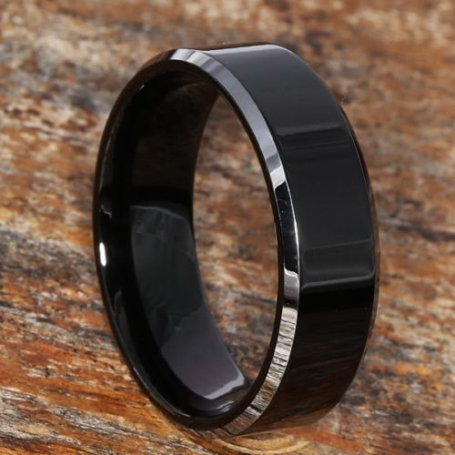 Kana Silver Black Tungsten Rings