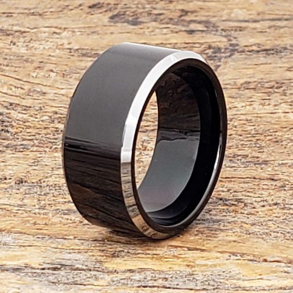 kana-silver-edges-10mm-black-tungsten-rings