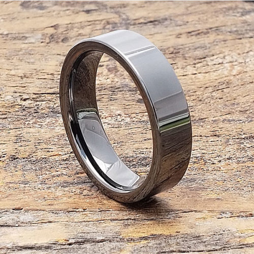 Europa Light Black Grey Tungsten Rings