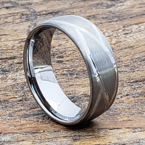 mens brushed carved rings