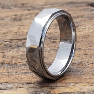 mens prism faceted tungsten ring