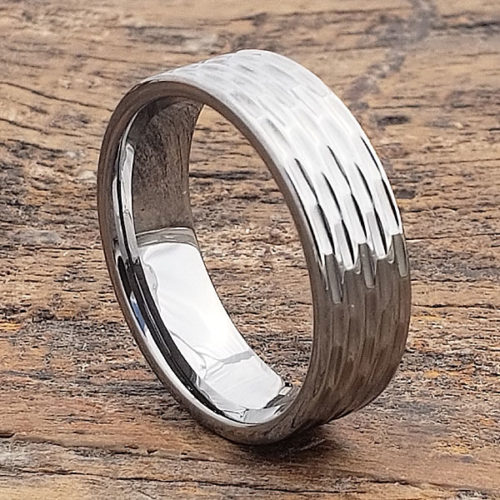 Caleb Mens Sculpted Flat Carved Rings