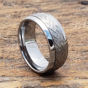 mens two tone carved rings