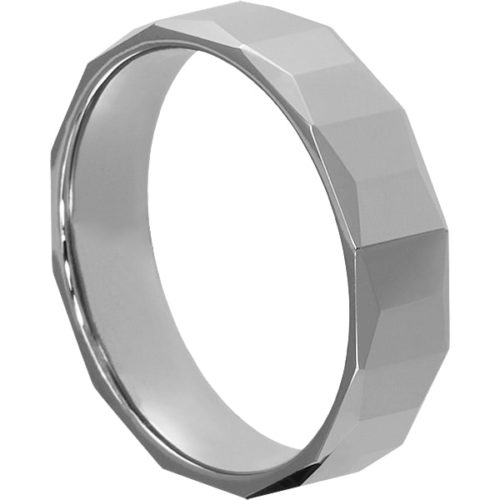 Metis Comfort Fit Mens Faceted Tungsten Rings