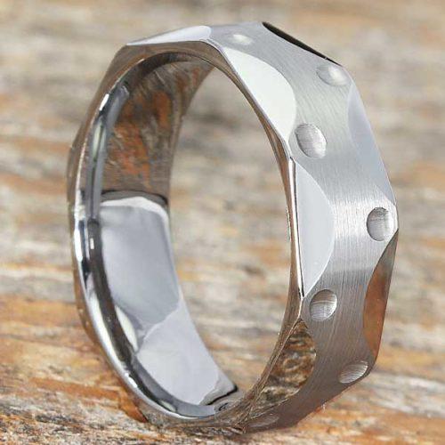 Metropolis Brushed Mens Faceted Tungsten Rings