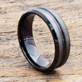 mica mens black tungsten rings