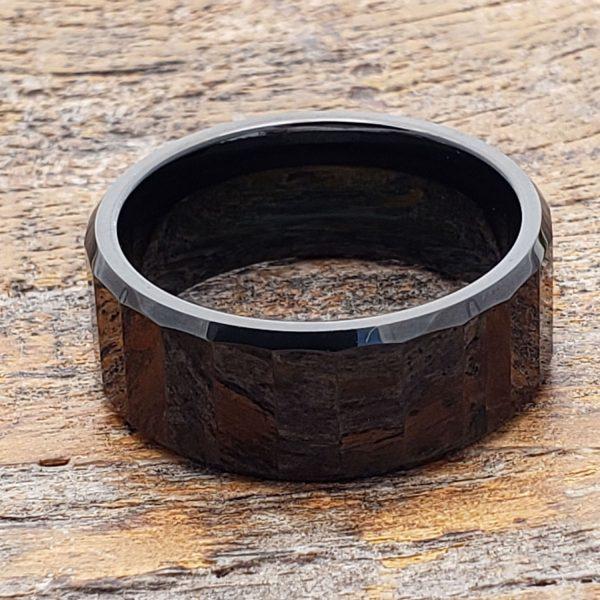 oblong-mens-black-facet-tungsten-rings