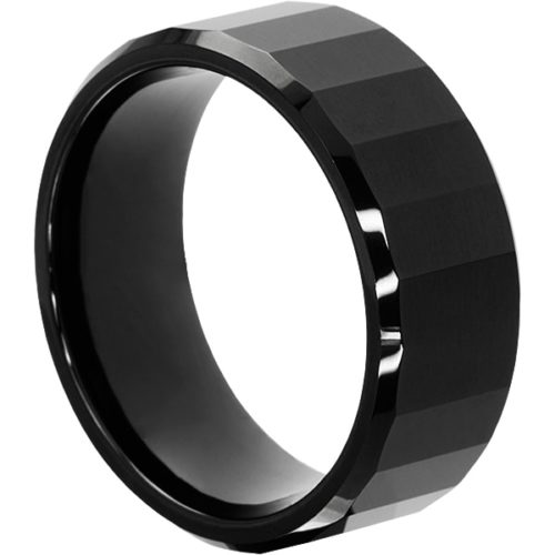 Oblong Mens Black Faceted Tungsten Rings