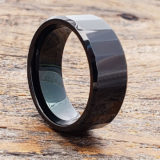 oblong mens facet black tungsten rings