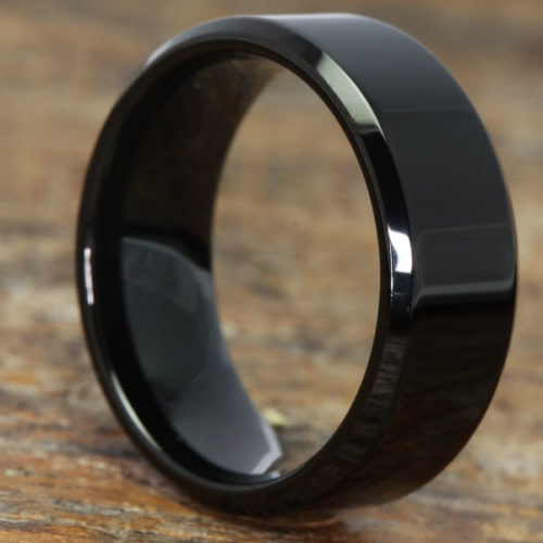 Orion Beveled Polished Black Tungsten Rings