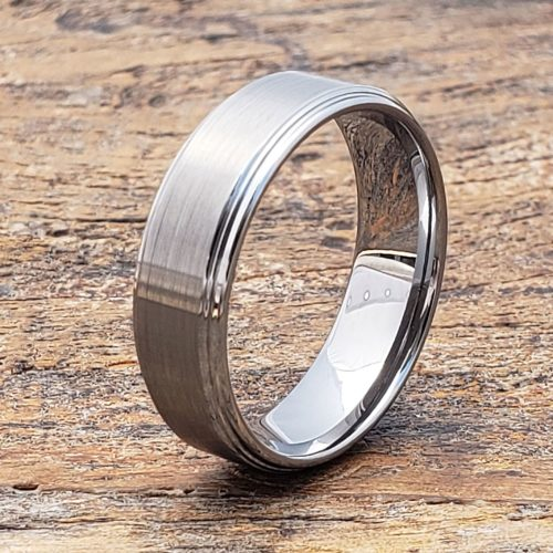Pluto Satin Brushed Tungsten Rings
