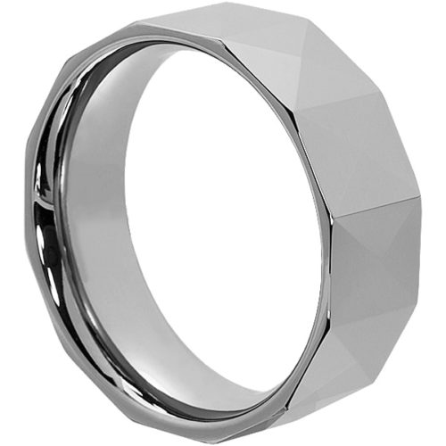 Psyche Geometric Faceted Tungsten Rings