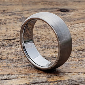 satin brushed tungsten wedding bands