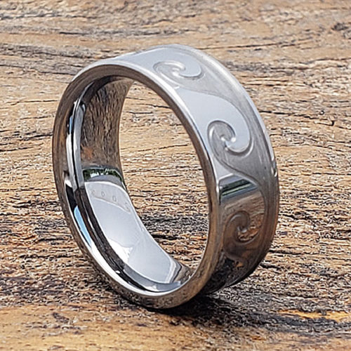 Tidal Wave Sculpted Mens Carved Rings
