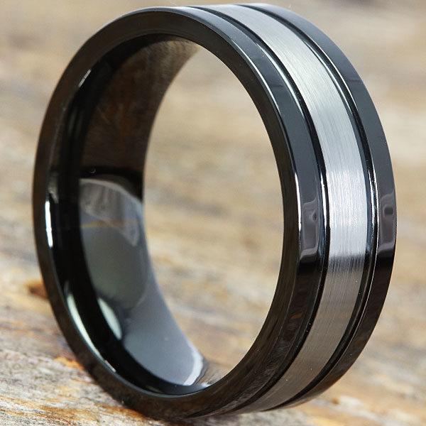 Serpico Black Dual Grooved Tungsten Rings