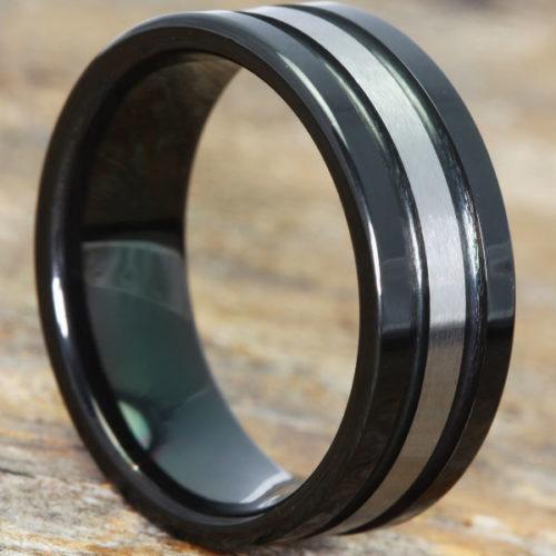 Serpico Grooved Brushed Black Tungsten Rings