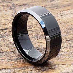 silver beveled edges black tungsten rings
