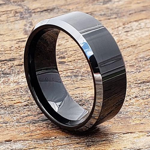 Kana Silver Beveled Edges Black Tungsten Rings