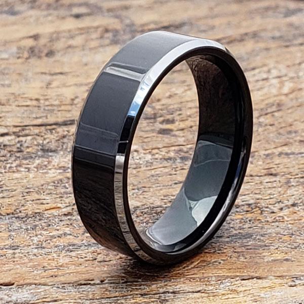 silver-black-tungsten-ring