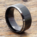 silver edges black tungsten rings