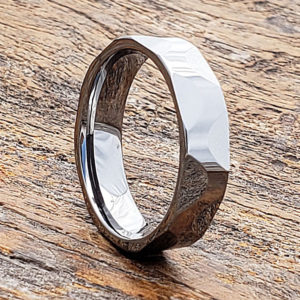 silver mens faceted tungsten rings