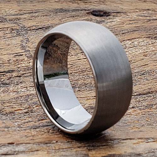 Pegasus Textured Satin Brushed Tungsten Wedding Bands