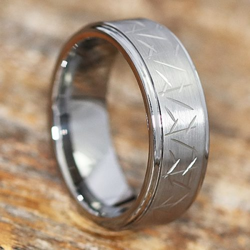 Thorns Brushed Step Down Edges Carved Rings