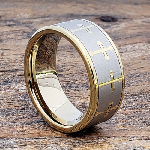 Trinity Gold Flat Cross Rings
