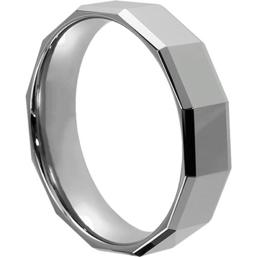 Tuscana Affordable Mens Faceted Tungsten Rings