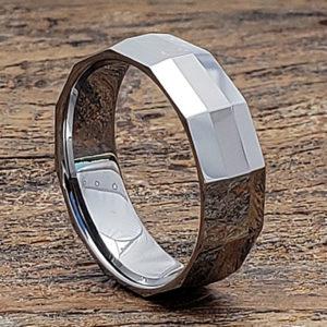 vega 7mm diagonal mens faceted tungsten rings