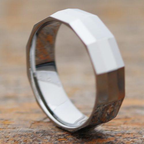 Vega Diagonal Mens Faceted Tungsten Rings