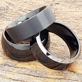 black tungsten rings